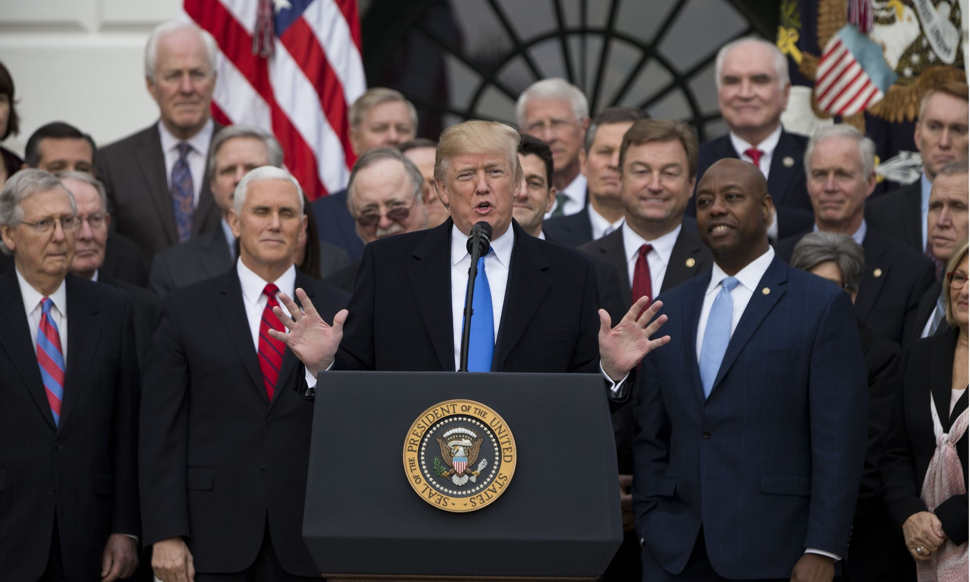Donald Trump speaks on the south lawn of the White House after Congress passed the Republican sponsored the 'Tax Cuts and Jobs Act' on 20 December 2017. Photograph: REX/Shutterstock