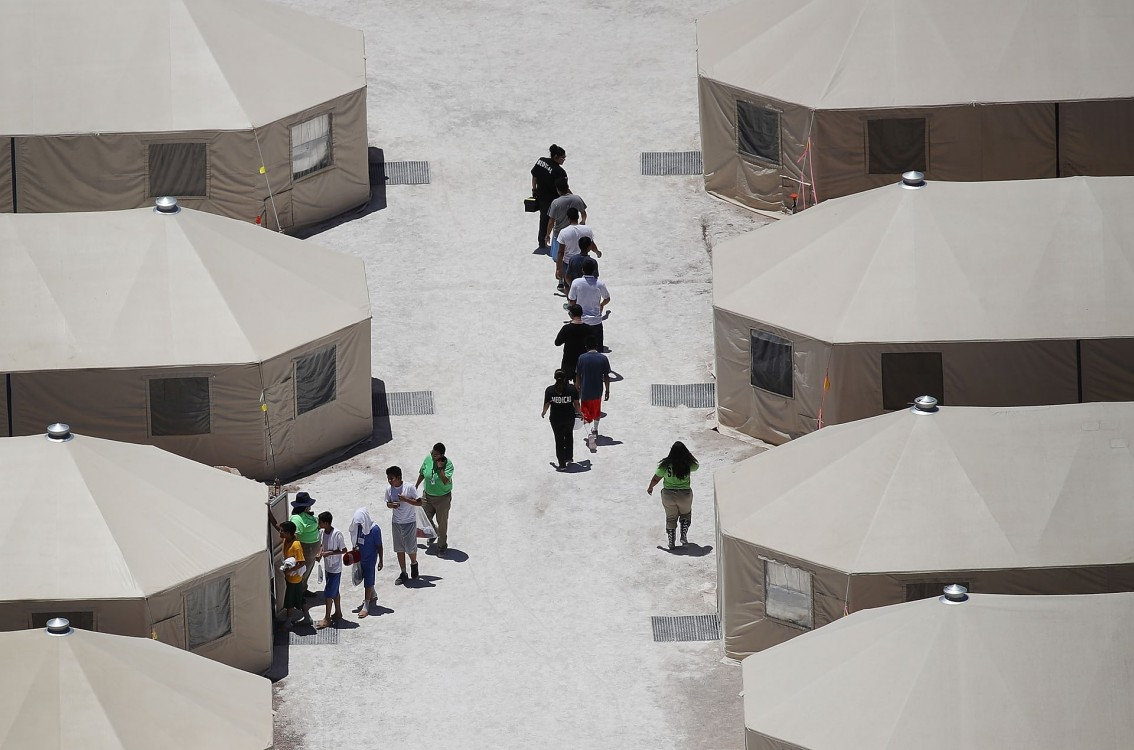 A tent encampment in Tornillo, Texas, to house immigrant children. Photograph: Joe Raedle/Getty Images