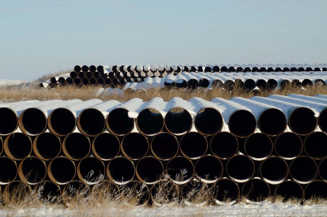 A depot used to store pipes for the planned Keystone XL oil pipeline in North Dakota. Photograph: Andrew Cullen/Reuters