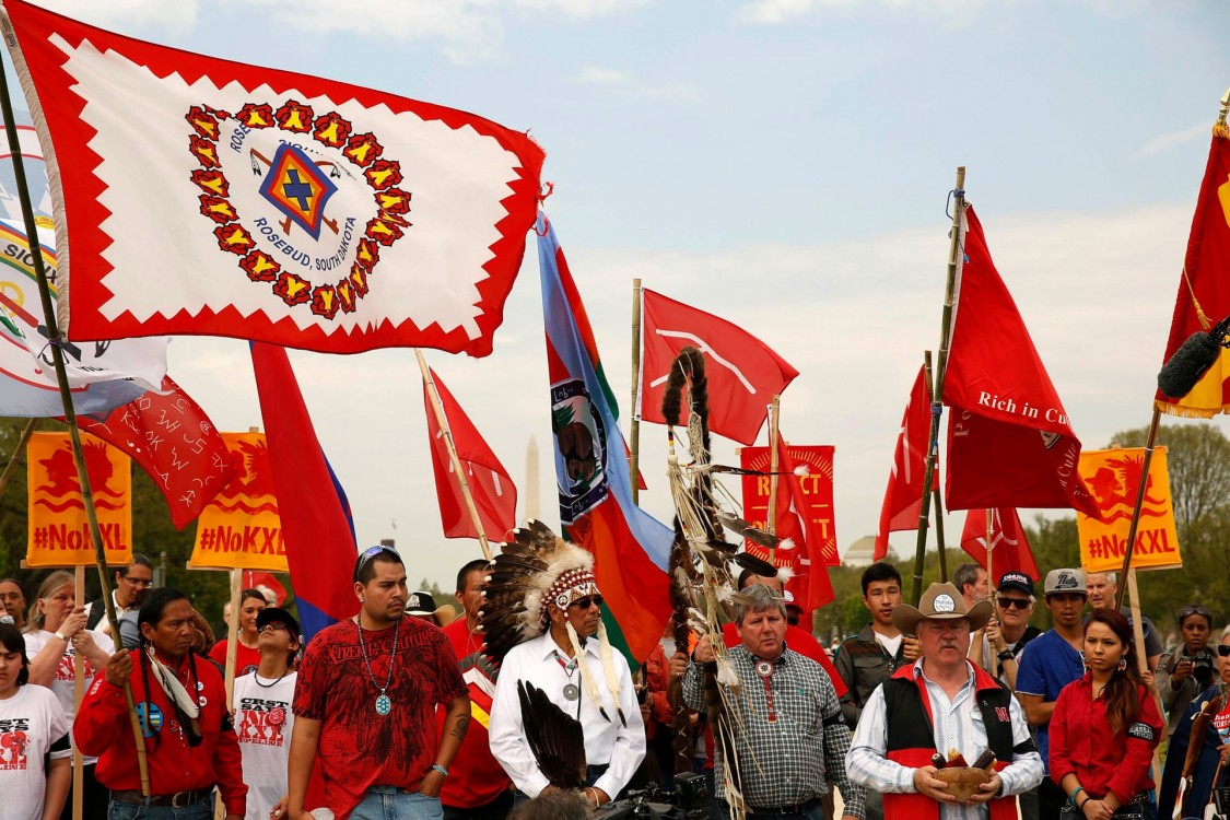 A protests against the Keystone XL pipeline in Washington. Photograph: Gary Cameron/Reuters