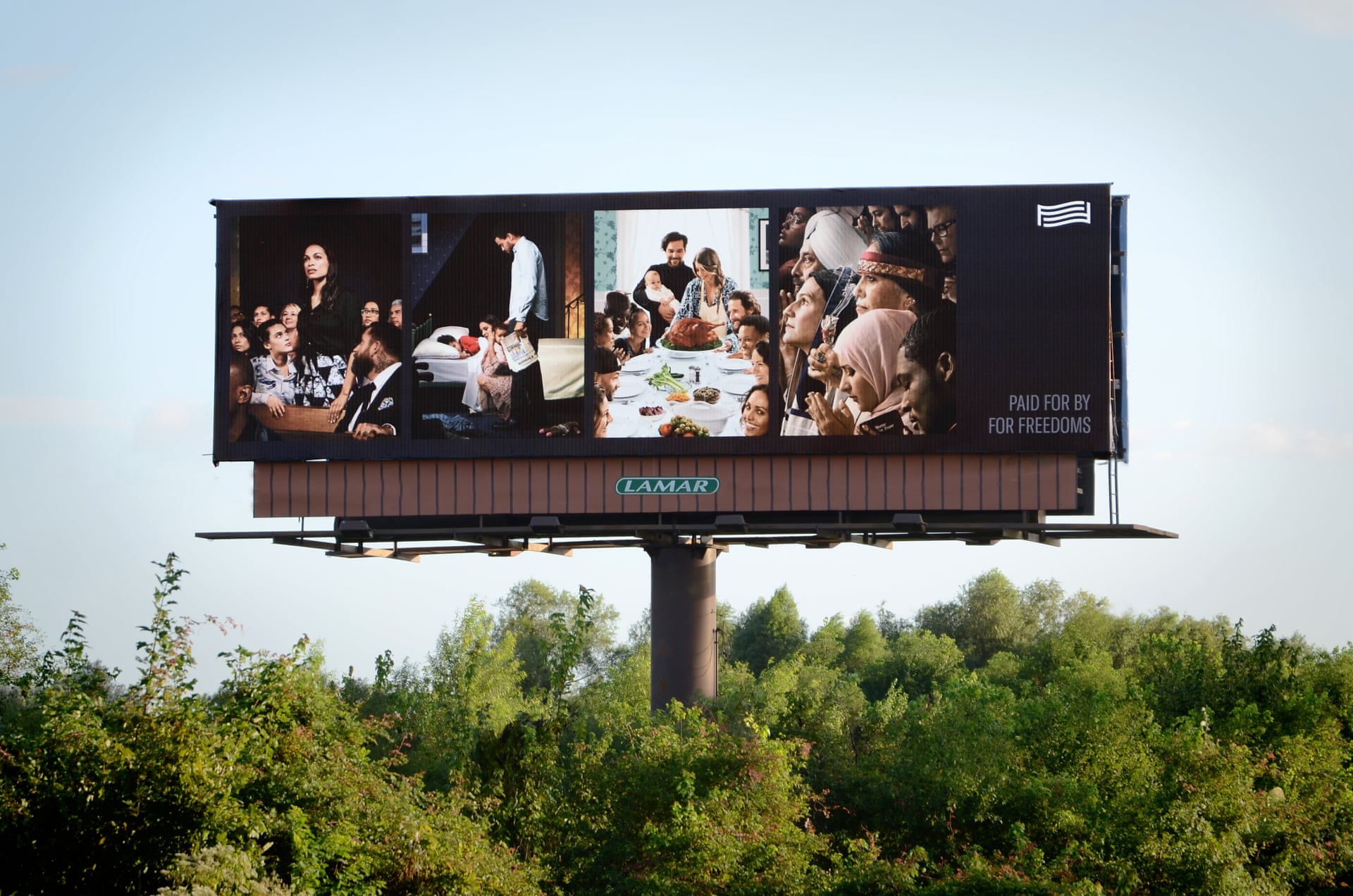For Freedoms, 50 State Initiative, billboard art, political art, 2018 elections, Donald Trump
