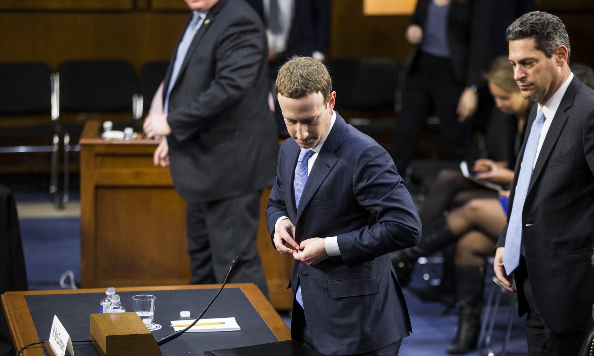 Mark Zuckerberg, the Facebook CEO, testifies before Congress. Photograph: Zach Gibson/Getty Images