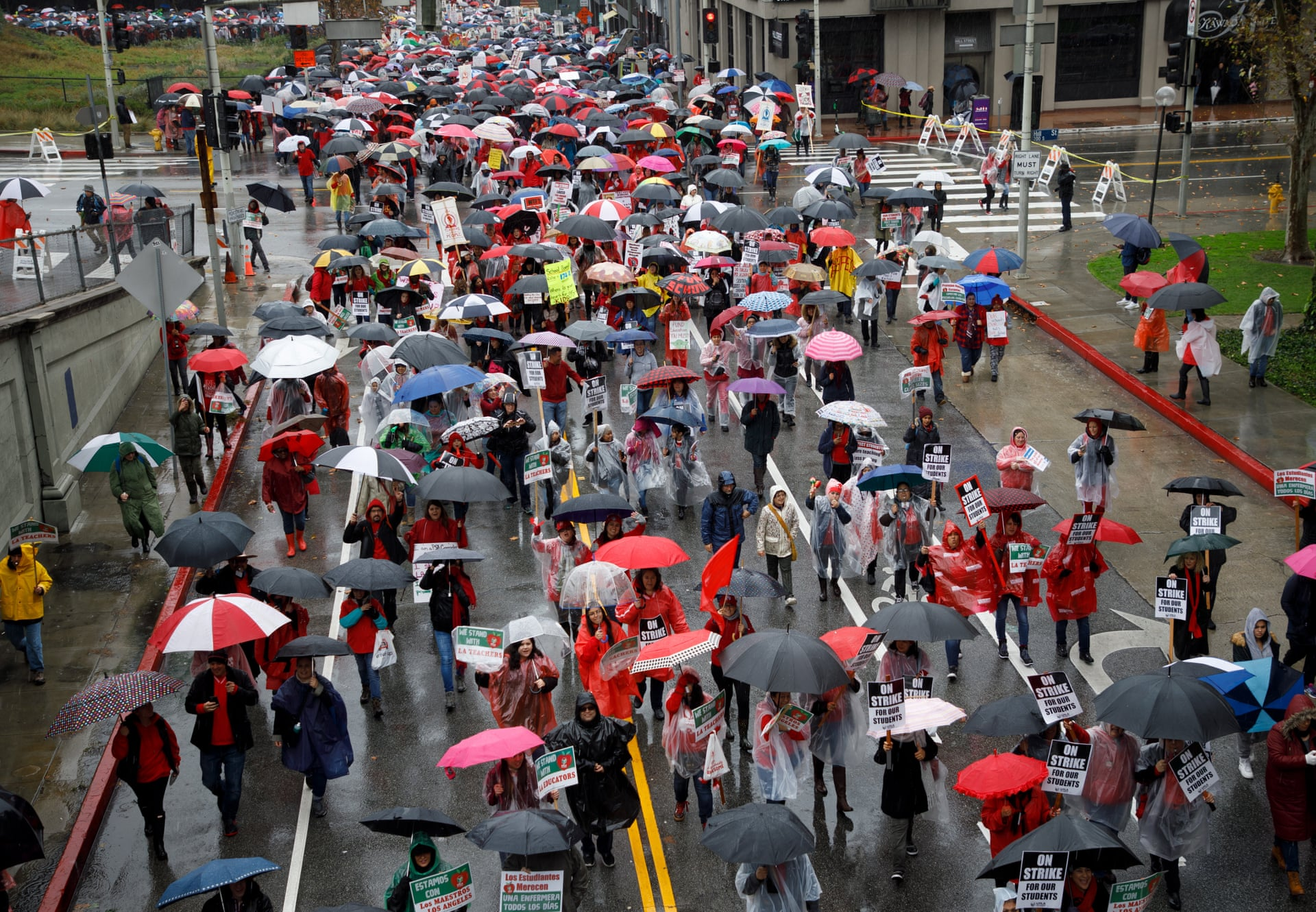Thousands of striking teachers and supporters fill the streets of downtown LA. Photograph: Eugene García/EPA