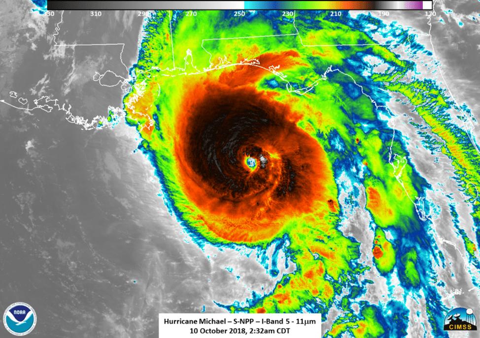 Infrared image of Hurricane Michael Photograph: NASA/NOAA/UW-SSEC-CIMSS, William Straka III
