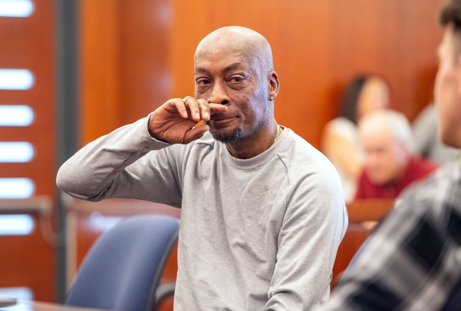 Dewayne Johnson reacts after the verdict was read in the case against Monsanto at the Superior Court Of California in San Francisco, California on August 10, 2018. Josh Edelson—AFP/Getty Images