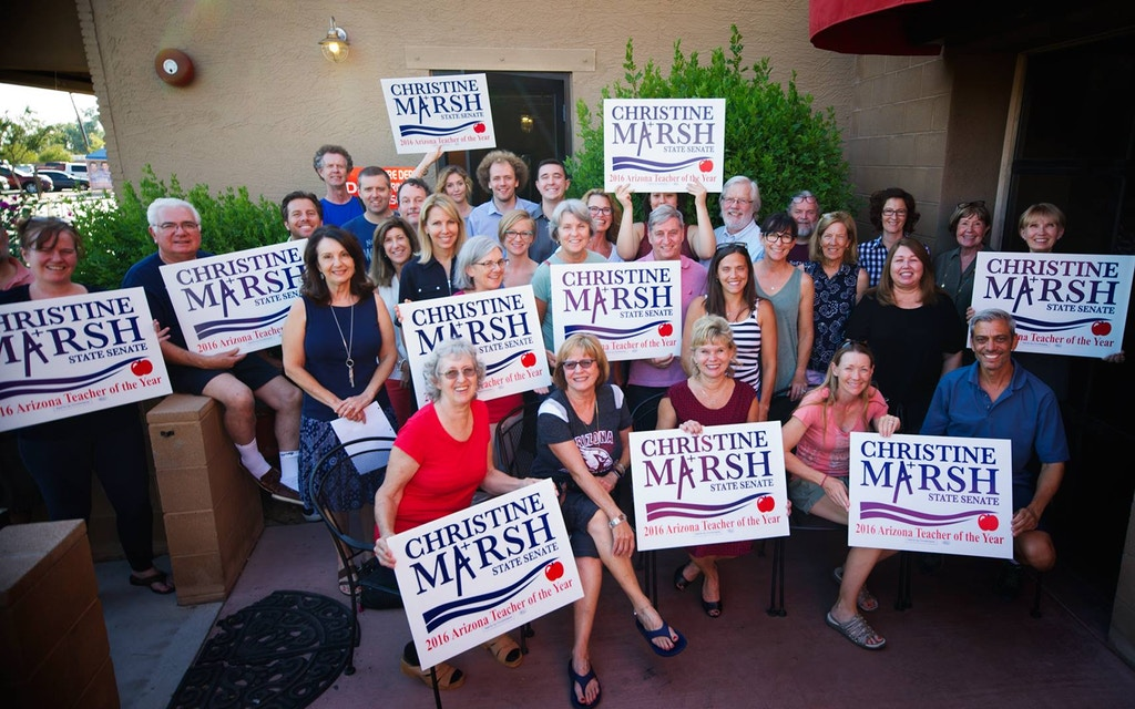 Christine Porter Marsh, front row, third from right, poses with supporters of her run for state senate. Photo: Christine Porter Marsh