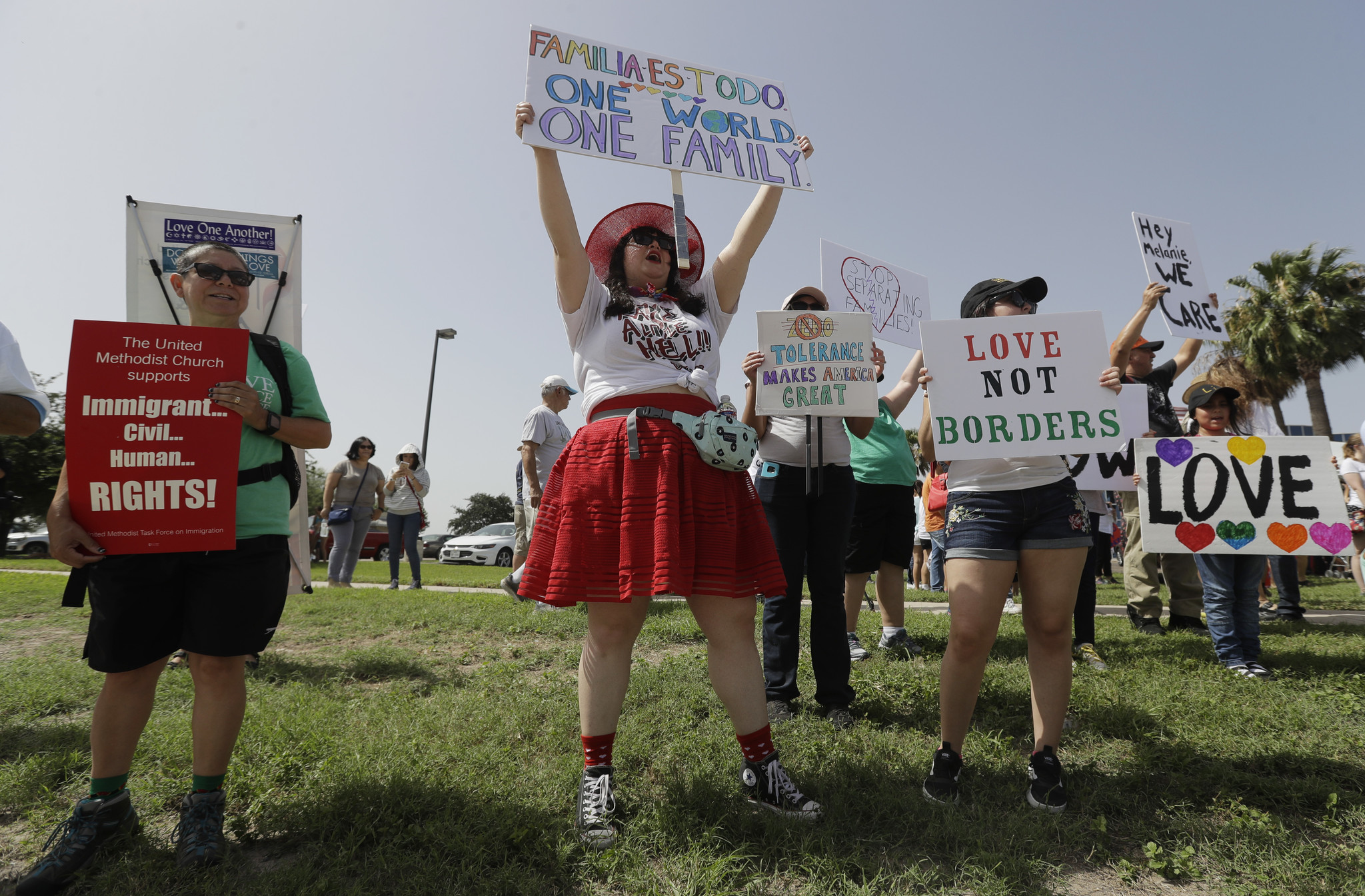 MCALLEN, TEXAS: Protesters gather near a U.S. Customs and Border Protection station to speak out against immigration policy. Eric Gay / Associated Press
