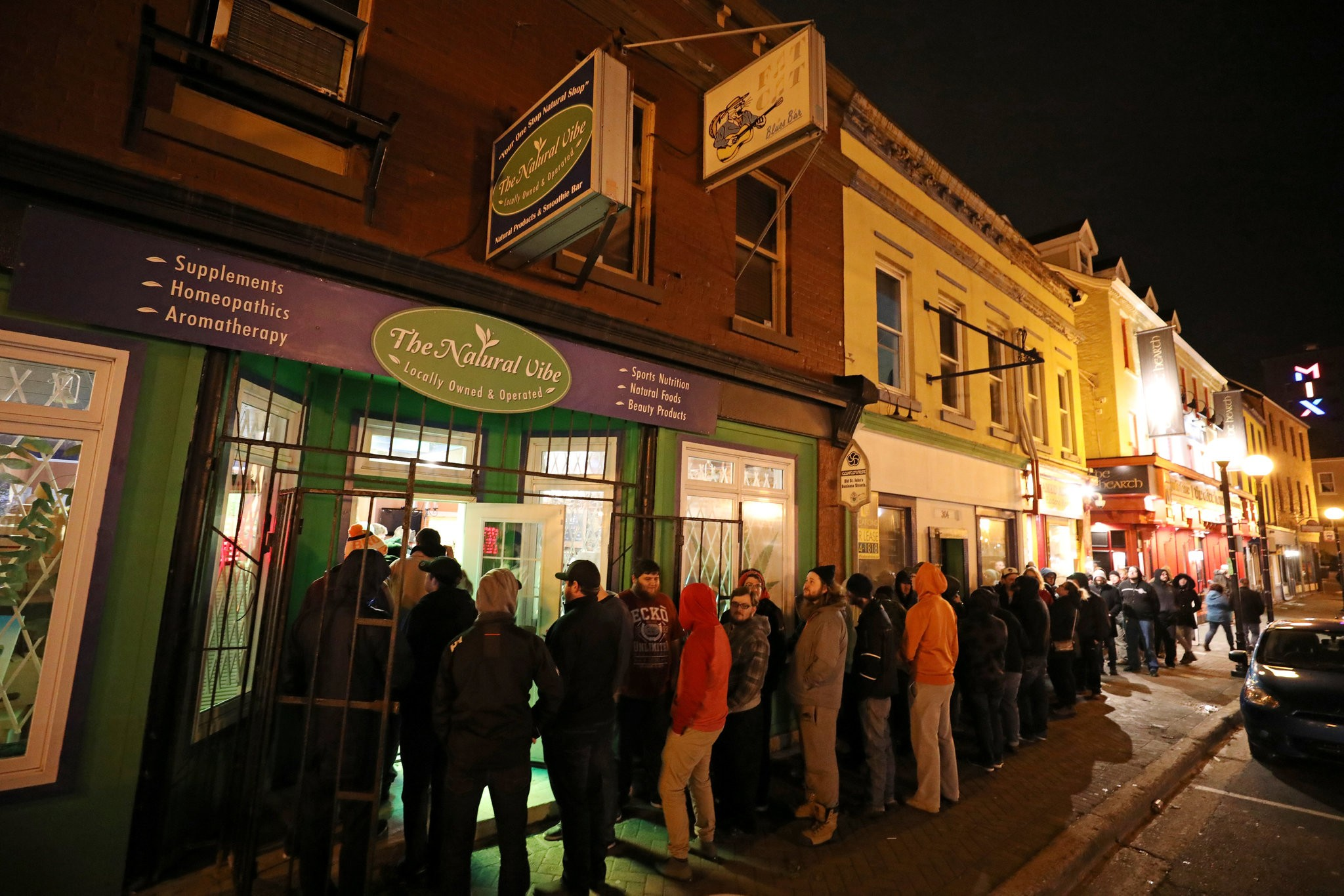 Customers waited outside a store after recreational marijuana went on sale legally in St John's, Newfoundland and Labrador. Credit: Chris Wattie/Reuters