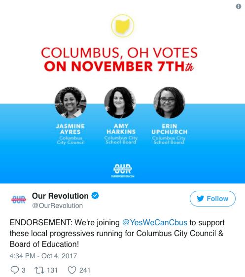 progressive candidates, Bernie Sanders, populist Democrats, Yes We Can, Ohio elections
