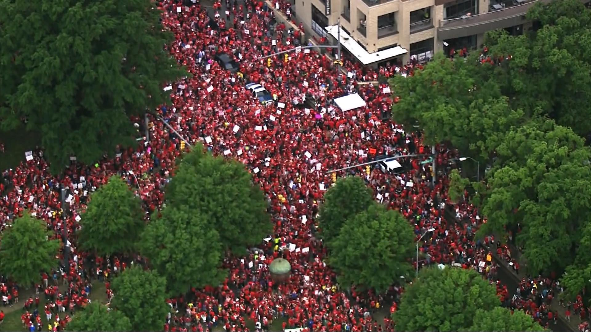 North Carolina teacher strikes, national teacher strikes, teacher pay, teacher walkouts, right to work laws, union busting, teachers union