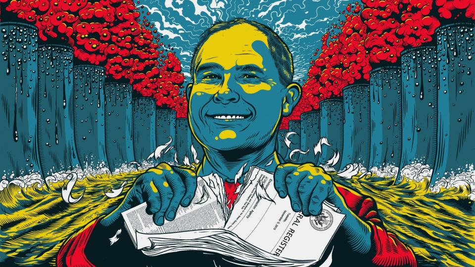Scott Pruitt, once a longtime opponent of the Environmental Protection Agency, is now at its helm, spearheading a push to roll back regulations at a scale staffers say is unprecedented. (Tim McDonagh, special to ProPublica)
