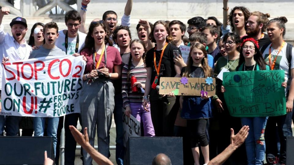 Teenage climate Swedish activist Greta Thunberg attends Fridays for Future Climate Change rally in Piazza Del Popolo on April 19, 2019 in Rome, Italy. (Photo: Franco Origlia/Getty Images)