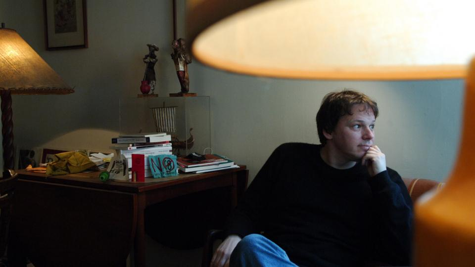 David Graeber at his home in Manhattan in in 2005. A public intellectual, professor, political activist and author, he captivated a cult following that grew globally with each book he published over the last decade.Credit...Jennifer S. Altman for NYT