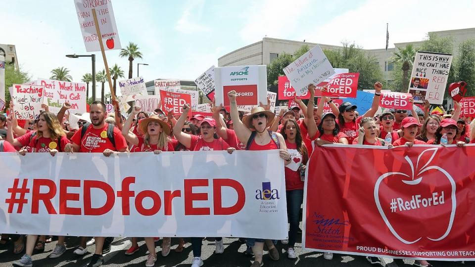 teacher strikes, treacher pay, union busting, right to work, Janus decision, teacher demands, union support