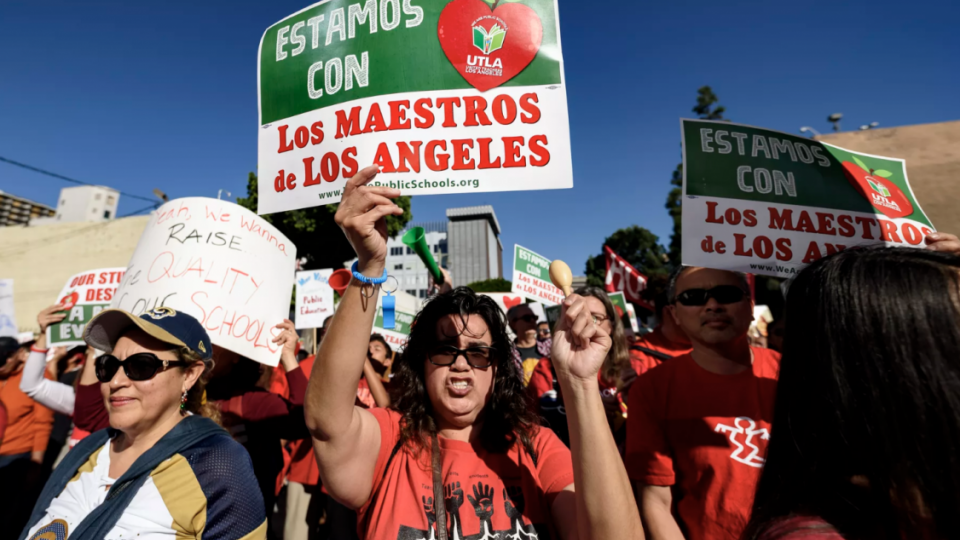 Teachers and supporters of public education march against education funding cuts during the March for Public Education in Los Angeles, California on December 15, 2018.  Ronen Tivony/NurPhoto via Getty Images