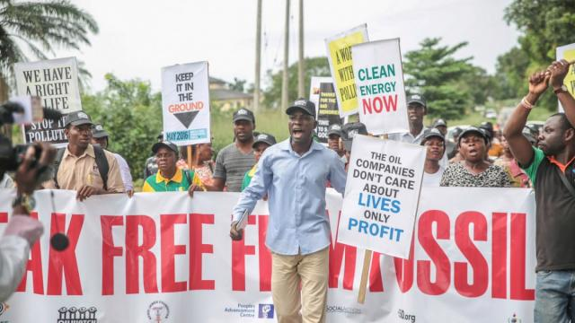 Activists in Ibeno, Nigeria.