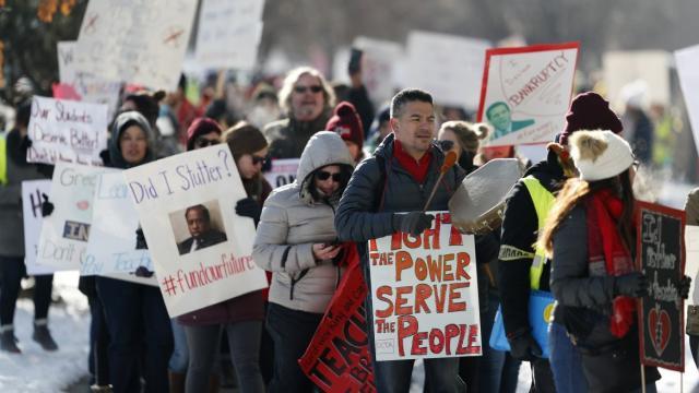 Denver teacher strike, teacher pay, teacher walkouts, nationwide teacher strikes, public school conditions