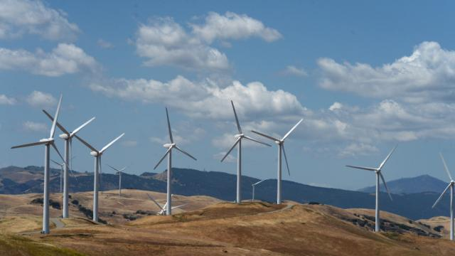 Wind turbines in the Altamont area of Contra Costa County, Calif., on Friday, May 8, 2015. (Dan Honda/Bay Area News Group)