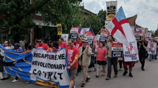 Protesters in Jefferson City, Missouri were just some of the participants in the nationwide launch of the Poor People's Campaign on Monday. (Photo: @standup_kc/Twitter)
